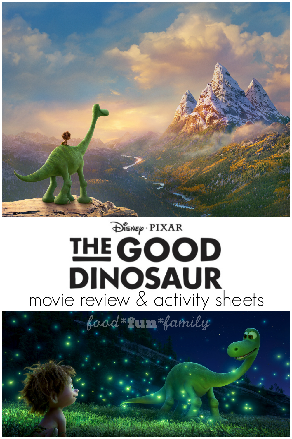 Disney Pixar's The Good Dinosaur Movie Review and Activity Sheets at Food Fun Family