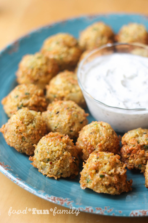 Magnus Chase Favorite Falafel Recipe from Food Fun Family with yogurt dill dip
