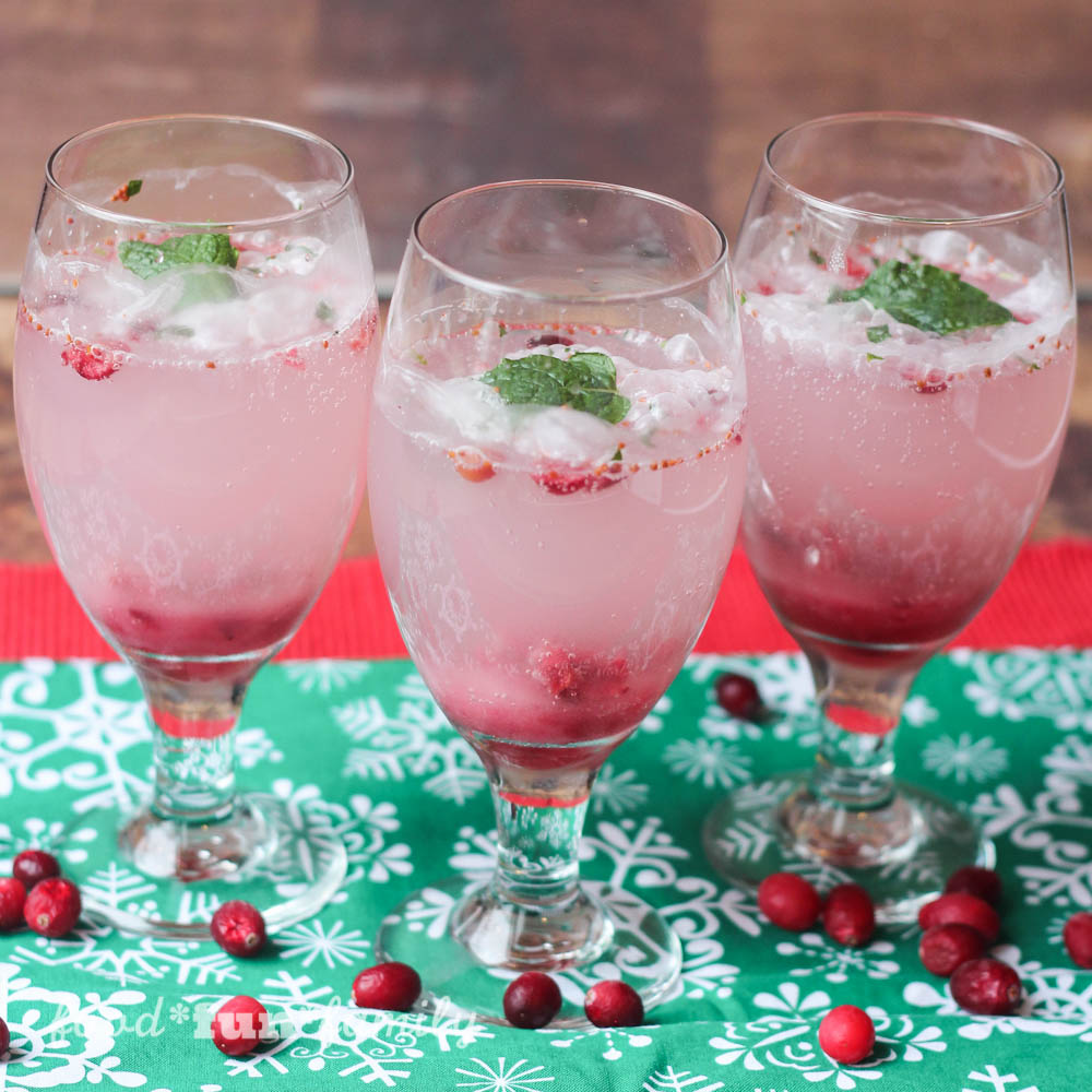 Sparkling Mint Cranberry Mocktail Recipe #SparklingHolidays