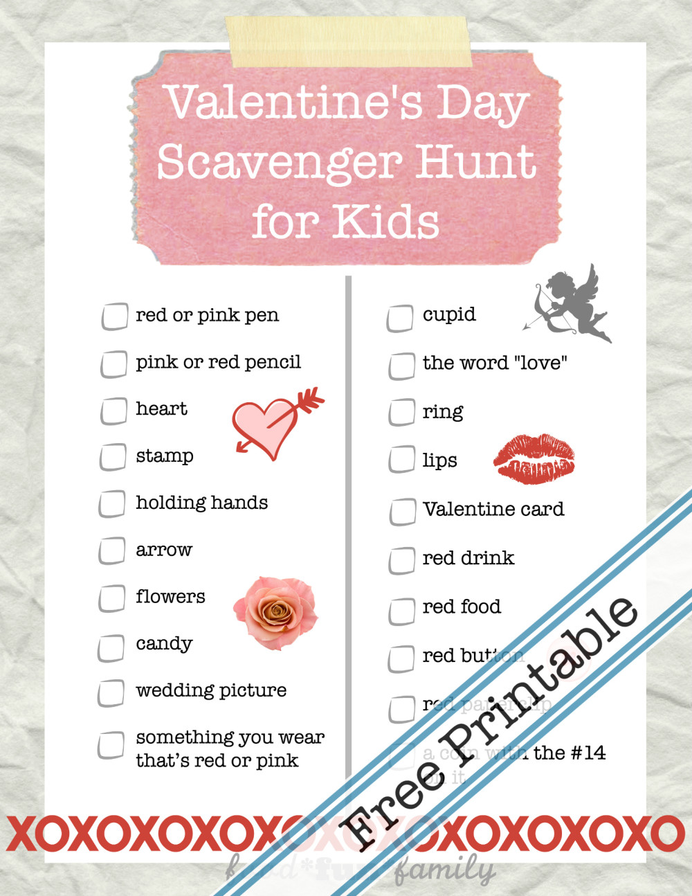 Valentine's Day Scavenger Hunt for Kids from Food Fun Family - a free printable