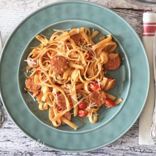 15 Minute Creamy Tomato and Sausage Fettuccine