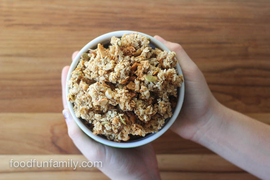 This Sea Salt Caramel Cashew Granola will become your new favorite breakfast and healthy snack! Easy to make recipe with real, simple ingredients