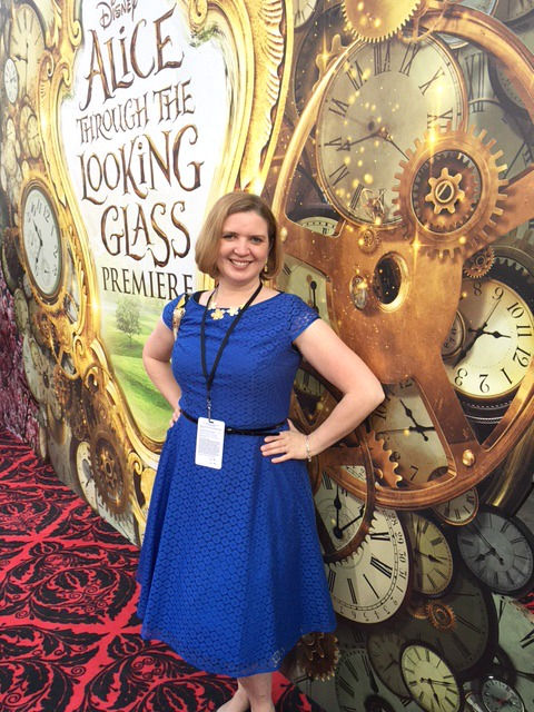 Laura from Food Fun Family on the Alice Through the Looking Glass red carpet