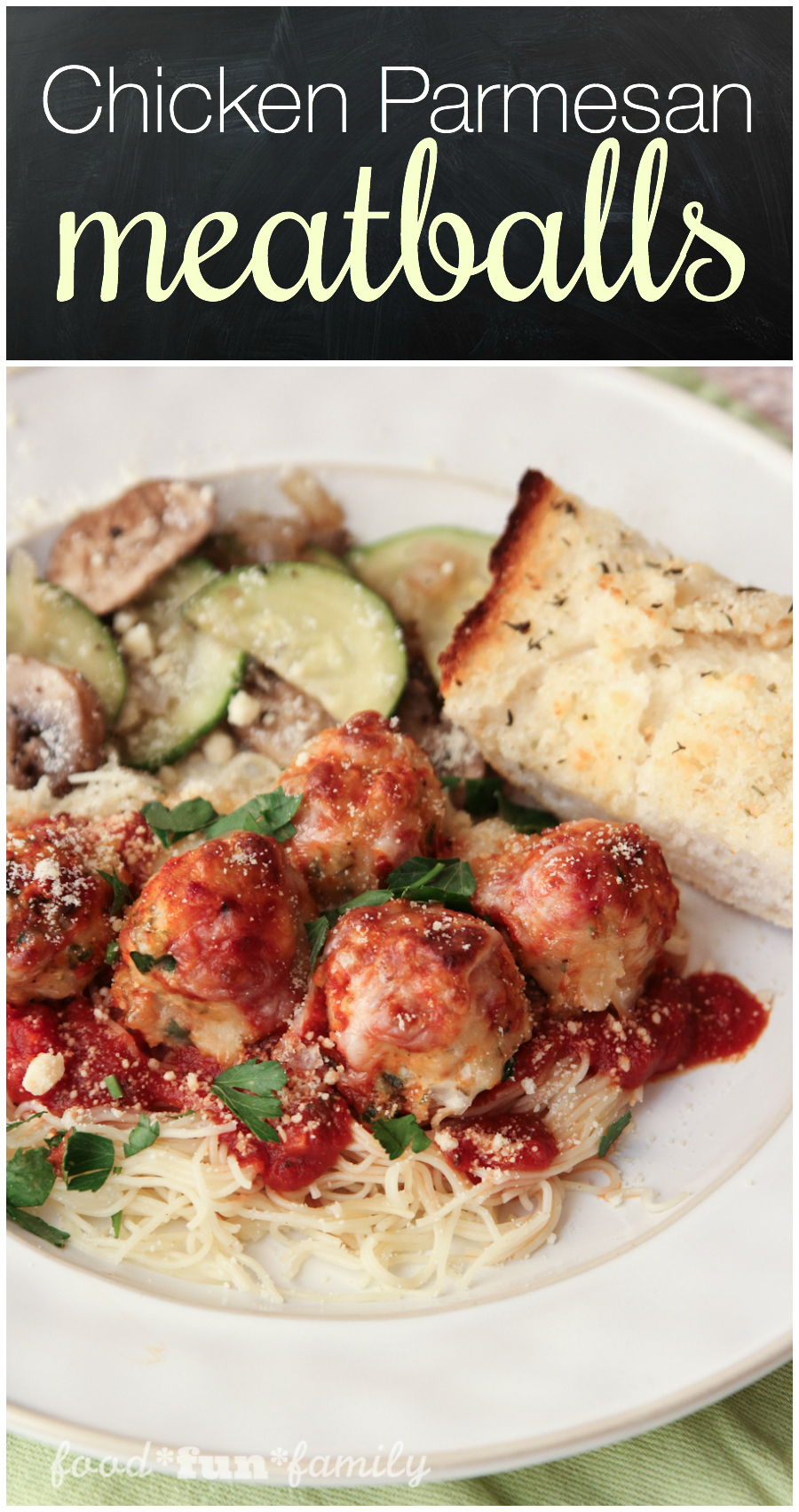 Chicken parmesan meatballs - a fun twist on traditional spaghetti and meatballs and chicken parmesan. Your whole family will love it!
