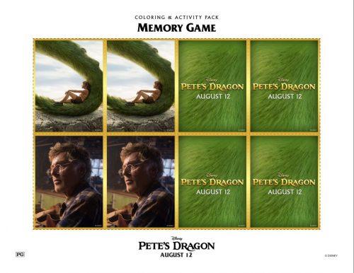 Pete's Dragon memory game