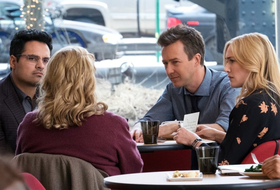 Kate Winslet, Edward Norton, Ann Dowd, and Michael Peña in Collateral Beauty