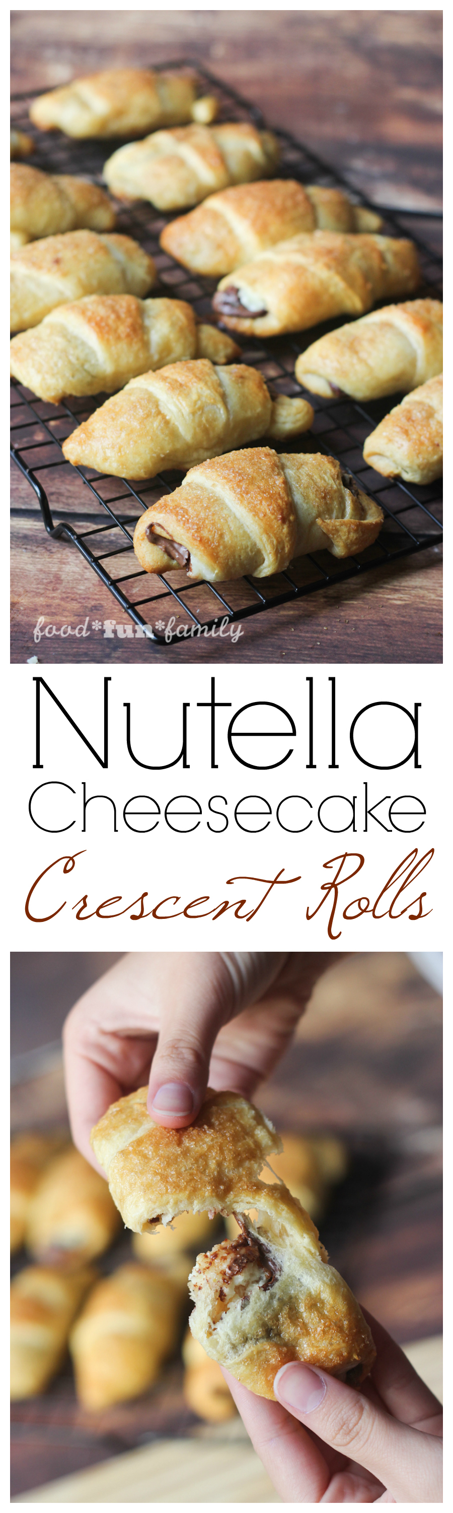 Nutella-cheesecake crescent rolls: a delicious and easy holiday recipe. These sweet treats are crowd pleasers and sure to disappear fast, but amazingly quick and easy to make!