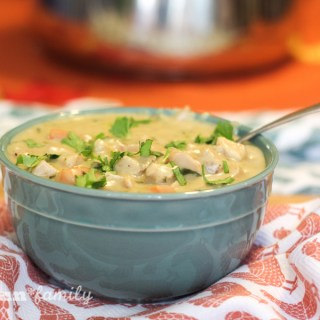 Creamy poblano chicken soup - enjoy a hot bowl of comfort food with one of my family's favorite soup recipes!