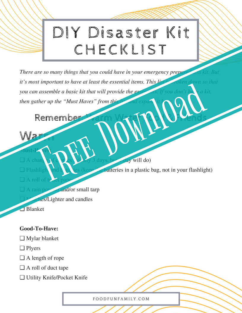 Being prepared is as easy as remembering 4 simple words! DIY Emergency Preparedness Kit and Checklist from Food Fun Family