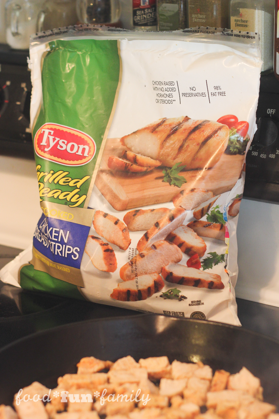 a delicious lunch or dinner in just 15 minutes! Greek-Style Chicken Wraps with Tyson® Grilled & Ready Chicken Breast Strips from Food Fun Family.