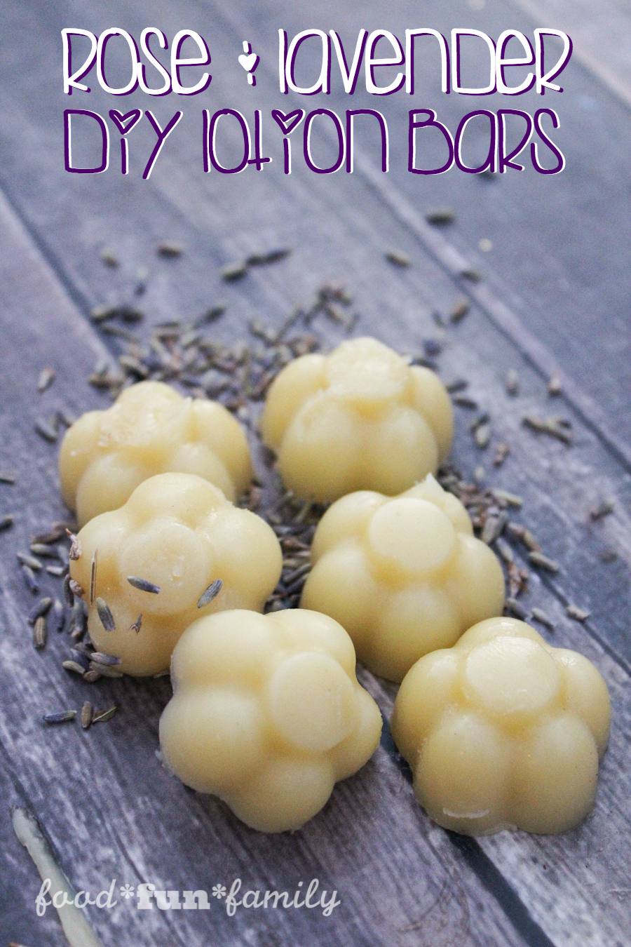 DIY Rose and Lavender lotion bars with all natural ingredients from Food Fun Family