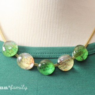 St. Patrick's Day Glass Map Necklace