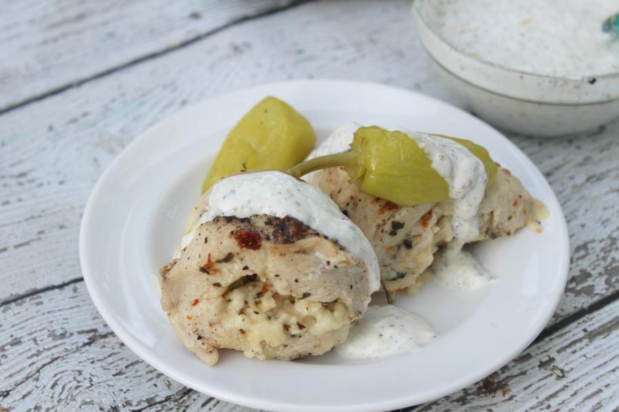 Pressure Cooker Greek Stuffed Chicken Breasts