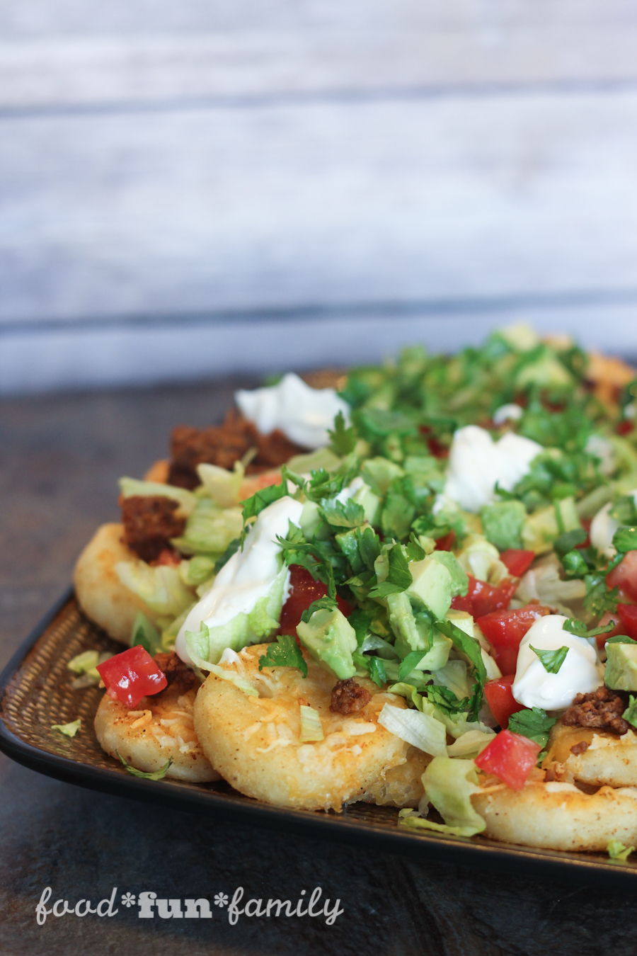 Loaded Potato Nachos (or Smiley Face Emoji Nachos) with McCain Smiles by Food Fun Family