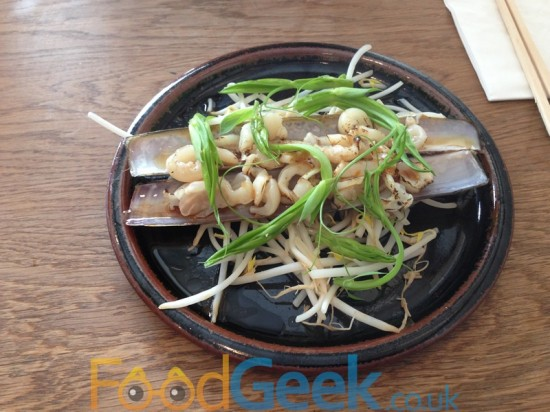 Seared Razor Clams, Beansprouts & Wild Pea Shoots