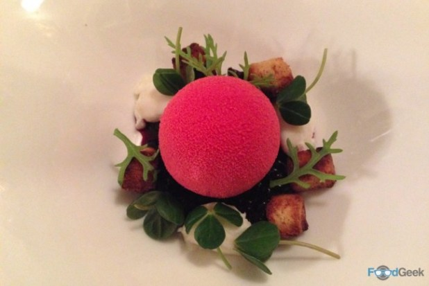Beetroot parfait, blackcurrant, curd cheese & hibiscus