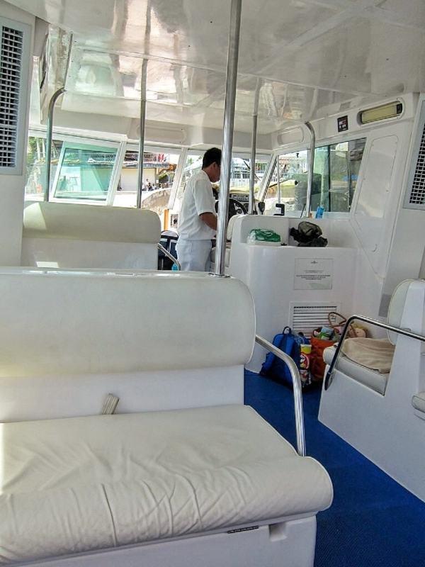 Inside the speedboat