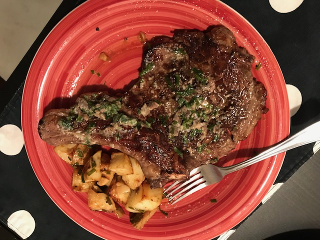 Steak with Anchovy Butter Sauce