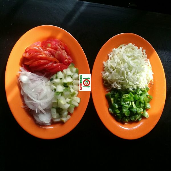 Chopped vegetables for shawarma