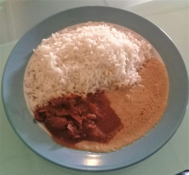 White-rice-and-plain groundnut-soup