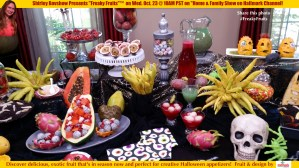 Freaky Fruits, an exotic collection of Fall-time, in season fruit is used as Halloween appetizers and decor