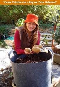 Shirley Bovshow Foodie Gardener with grow bag for growing potatoes