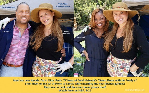 foodie gardener shirley bovshow with pat gina neely host food network down home with the neelys at home-and family set