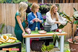 Foodie Gardener edible garden design expert shirley bovshow shows how to grow bananas on home and family show with cristina ferrare and debbie matenopoulis hallmark channel