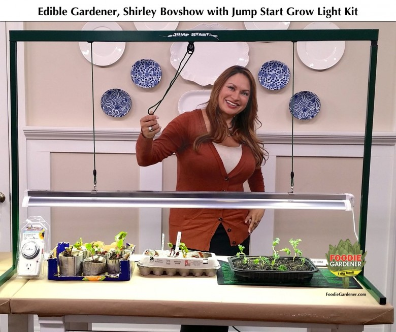 foodie gardener edible designer shirley bovshow hydrofarm jumpstart grow light kit home and family show hallmark channel foodie gardener blog