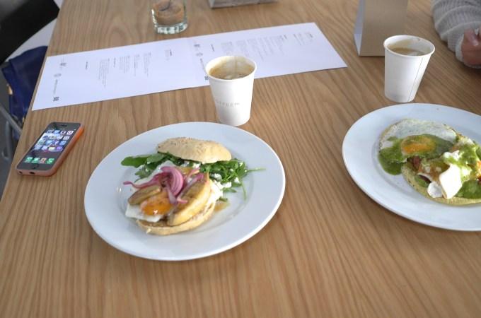 Foie gras, fried egg, maple syrup bagel