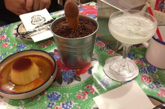 Dessert, corn flan, chocolate ice cream