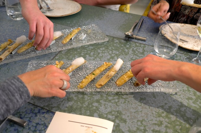 Sharing plate of razor clams from Disfrutar