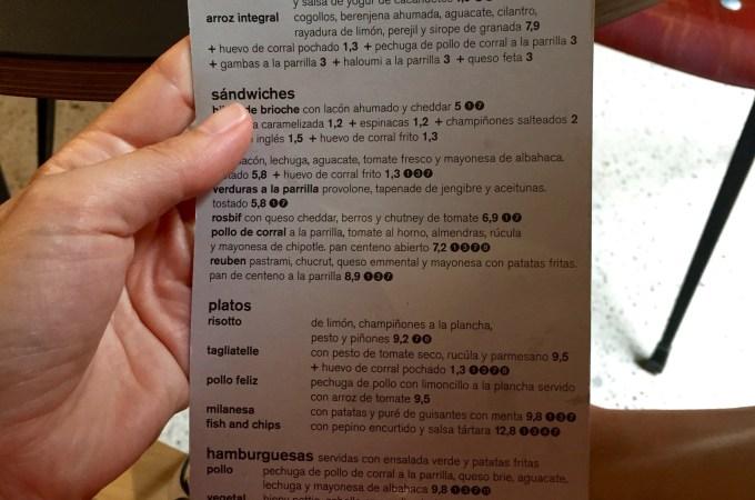 The menu at Federal