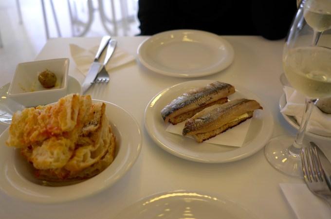 Sardines on toast, pan de coca
