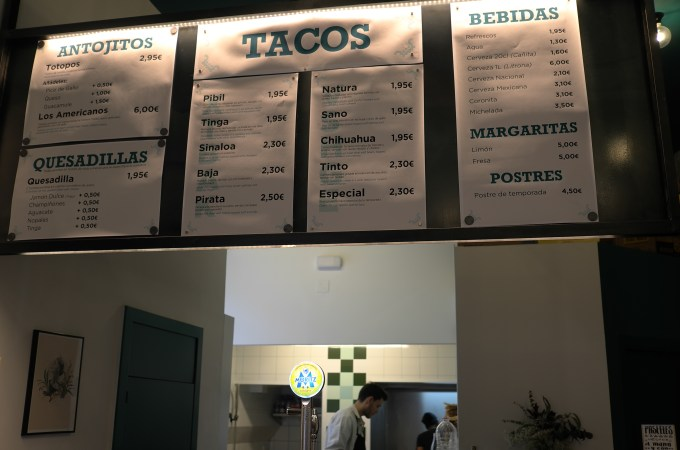 The menu at Taco Alto