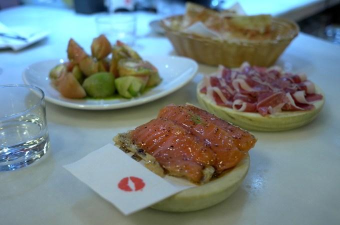 Truffled honey and salmon montadito