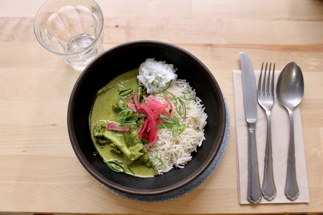 Green curry at Masala 73 Indian
