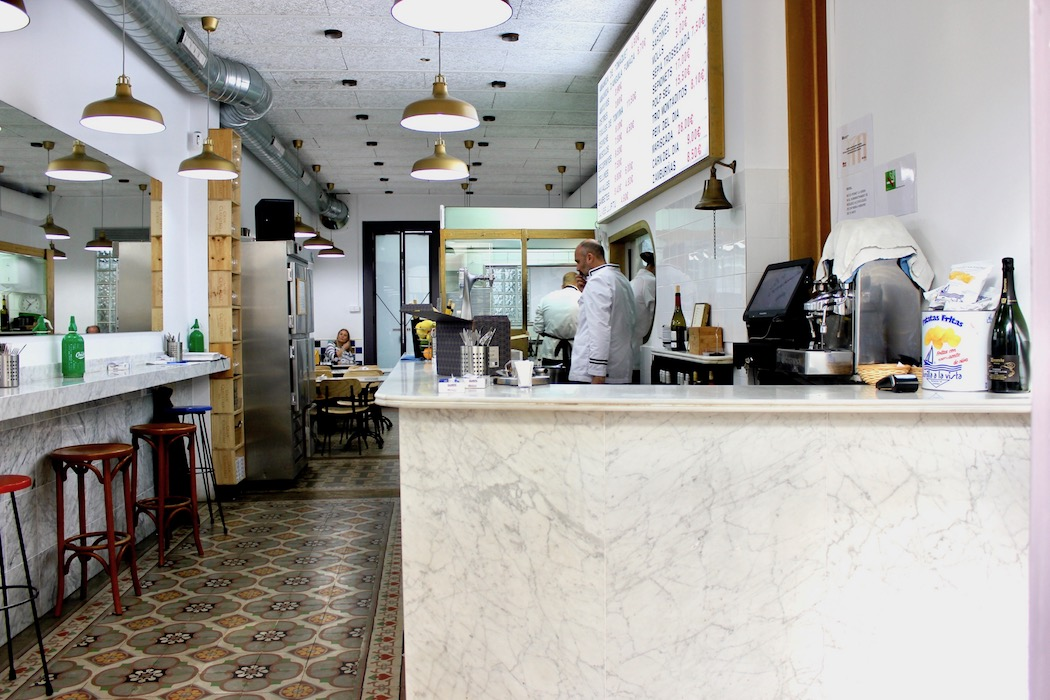Marble bar and traditional tiles on the floor at this great seafood restaurant
