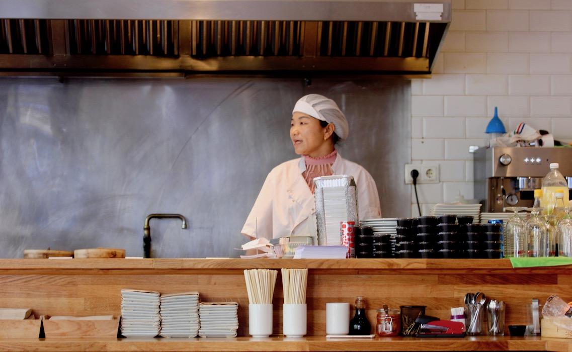 The dumpling making lady