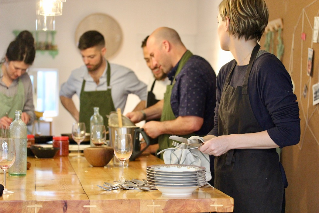 Cooking together on Bear on Bike Food Tour