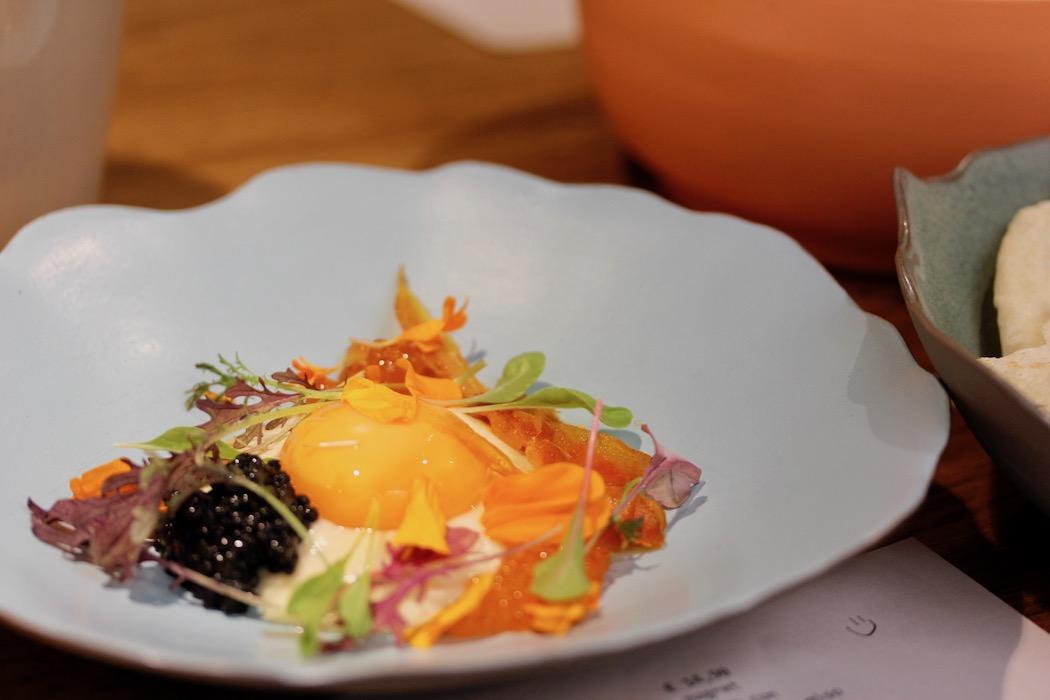 A symphony of umami, cured egg yolk, caviar and parmesan whey cream