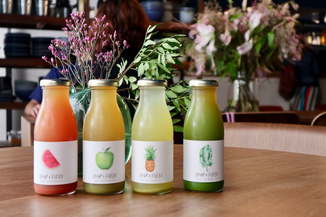 A range of fresh pressed juices from Loup & Filles
