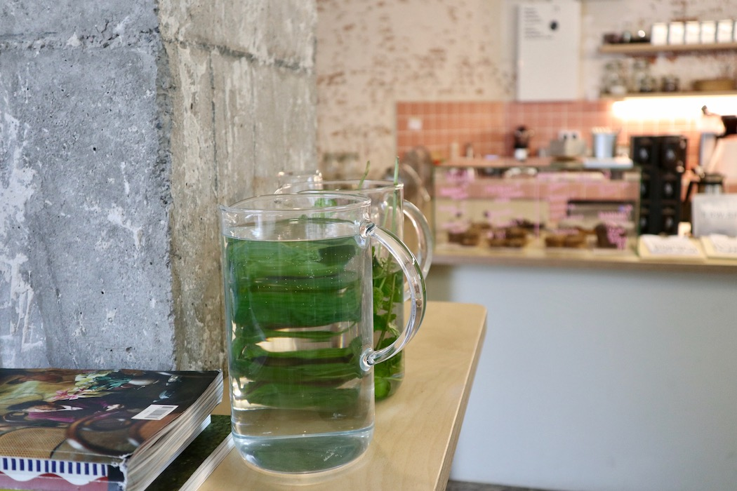 Water with mint at Orval Coffee Barcelona