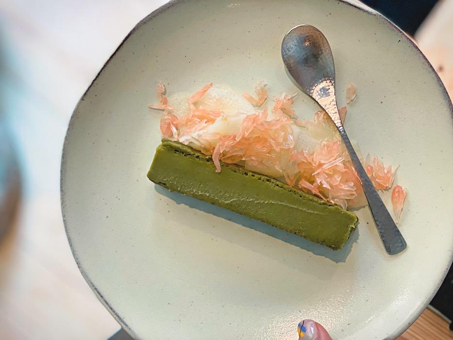 Matcha Nemesis cake with pomelo
