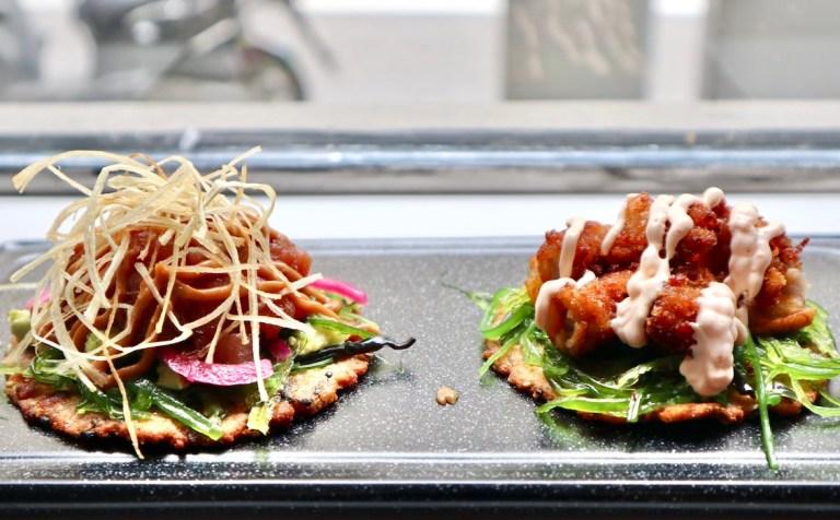 Coroto type bites at Coroto restaurant, a crunchy base with fish tartar and seaweeds