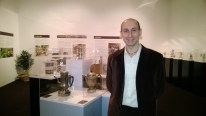 Andrea Moretto with some of his vintage coffee pots