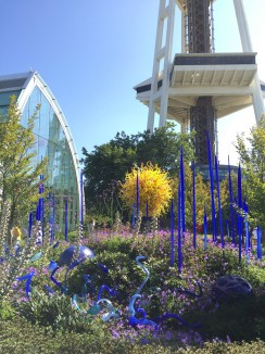 Chihuly Garden with the base of the Space Needle