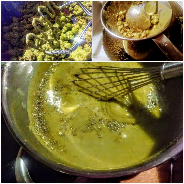 Štapnim mikserom se usitni maslina i začini za namaz