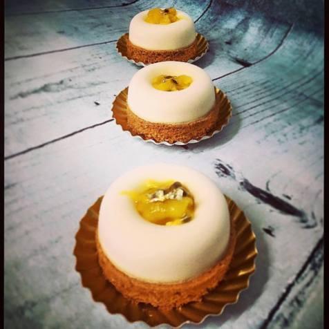 Cheese cake mangue:passion sur sablé breton maison