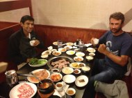 Korean with the guys. 35 plates in total and we only ordered 2 dishes.